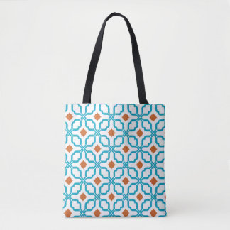 Bleu Orange Tiles Tote Bag
