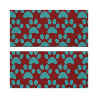 Bleu rouge d empreintes de pattes mignons de chiot toiles tendues