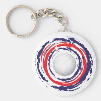 Bleu rouge et blanc 1 de volleyball porte-clé rond