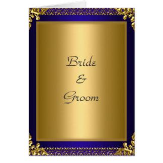 Bleu royal d'or d'invitation de carte de mariage