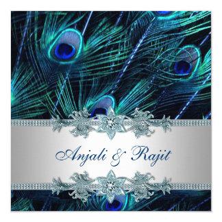 Bleu royal et mariage argenté de paon de bleu carton d'invitation  13,33 cm