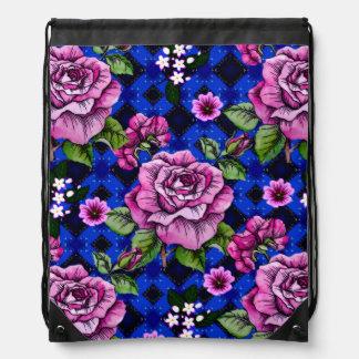 Bleu tissant les roses roses sacs à dos