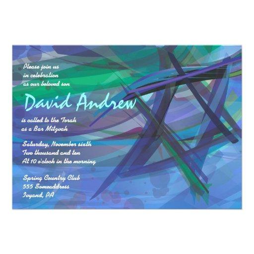 Bleu transparent d'invitation de Mitzvah de barre