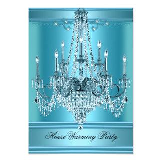 Bleu turquoise riche de lustre de partie de carton d'invitation  12,7 cm x 17,78 cm