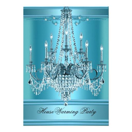 Bleu turquoise riche de lustre de partie de pendai invitations