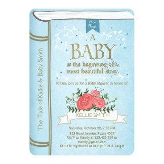 Bleu vintage de garçon d'invitation de baby shower carton d'invitation  12,7 cm x 17,78 cm