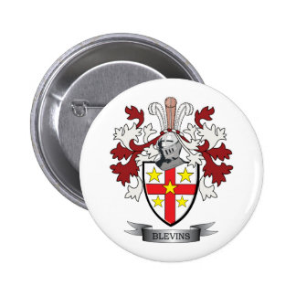 Blevins Family Crest Coat of Arms 2 Inch Round Button