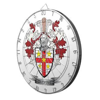 Blevins Family Crest Coat of Arms Dartboard