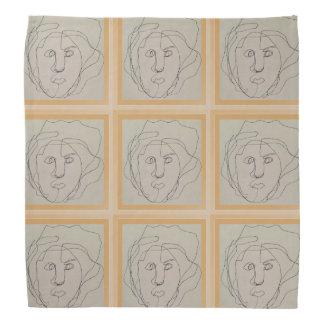 Blind contour drawing bandana