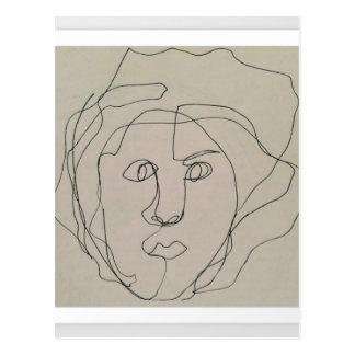 Blind contour drawing design postcard