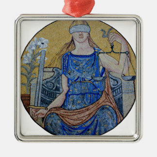 Blind Justice Round Medallion Mosaic Silver-Colored Square Ornament
