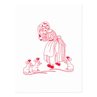 Blind Mice Redwork Postcard