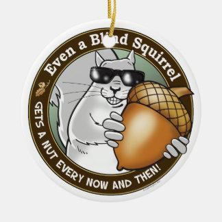 Blind Squirrel Nut Round Ceramic Ornament