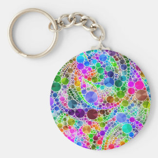Bling Abstract Pattern Basic Round Button Keychain