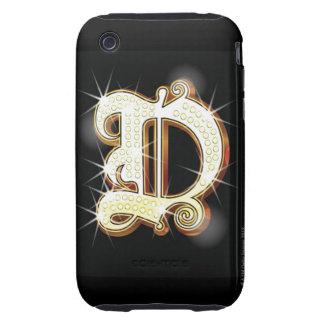 Bling alphabet D Tough iPhone 3 Covers