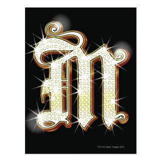 Bling alphabet M Postcard