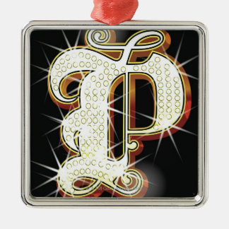 Bling alphabet P Silver-Colored Square Ornament
