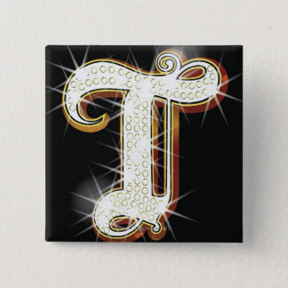 Bling alphabet T 2 Inch Square Button