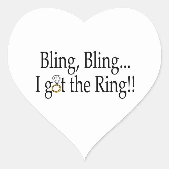 Bling Bling, I Got The Ring Heart Sticker