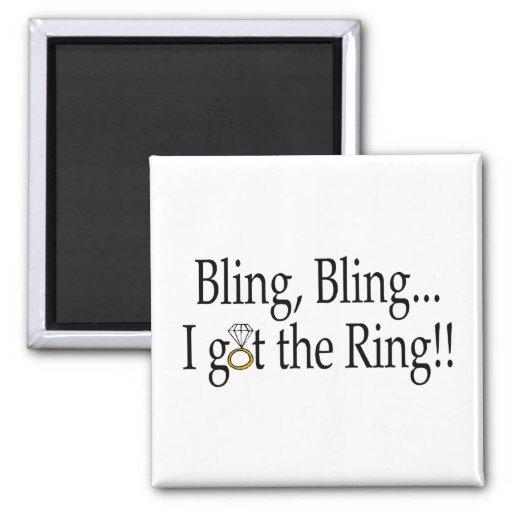 Bling Bling I Got The Ring Wedding Engagement Fridge Magnets