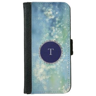 Bling Bokeh Blues Monogram iPhone 6 Wallet Case