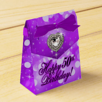 Bling Bombshell Sparkle Birthday Party | purple Favor Box