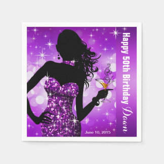 Bling Bombshell Sparkle Birthday Party | purple Paper Napkins