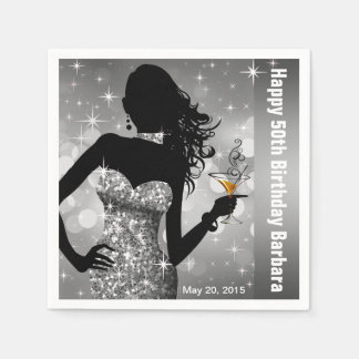 Bling Bombshell Sparkle Birthday Party | silver Disposable Napkins