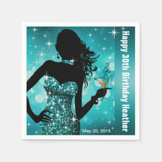 Bling Bombshell Sparkle Birthday Party | teal Disposable Napkin