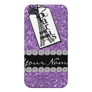 Bling Chic PURPLE Paris 4s Diamonds Covers For iPhone 4