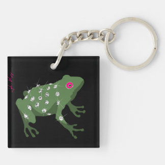 bling covered frog keychain
