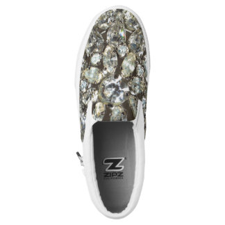 Bling Crystal Silver Diamante Pattern Slip-On Sneakers
