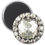 Bling Diamond Rhinestone Vintage Costume Jewellery 2 Inch Round Magnet