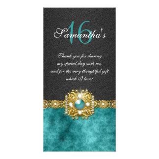 Bling gems diamond pearl damask customized photo card