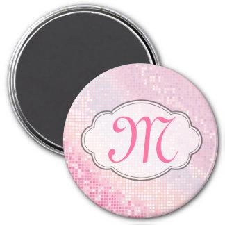 Bling Glitter Girly Pink Monogram Initial Magnet