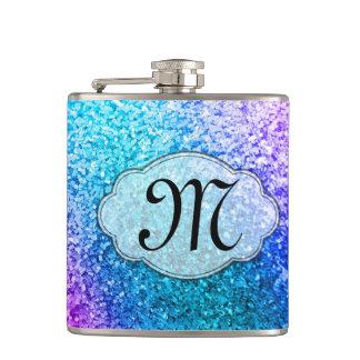 Bling Glitter Girly Pink Monogram Whiskey Flask