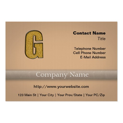 Bling Gold G Business Card Templates