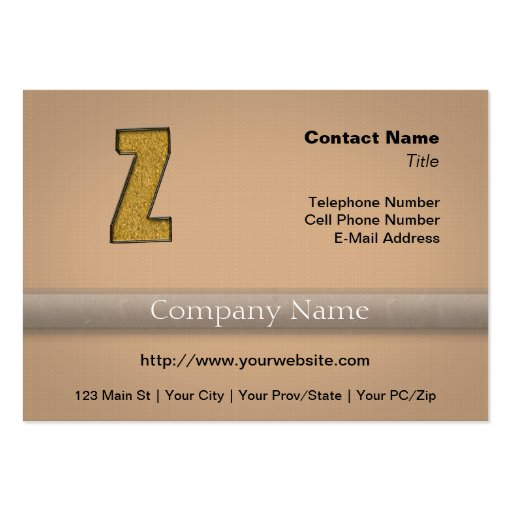 Bling Gold Z Business Card Template