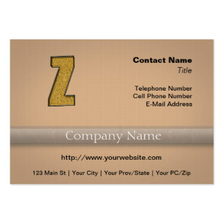 Bling Gold Z Large Business Card