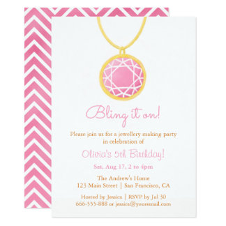 Bling It On Jewellery Making Girls Birthday Party Card