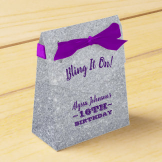 Bling it On Silver Sparkles Purple Sweet 16 Favor Box