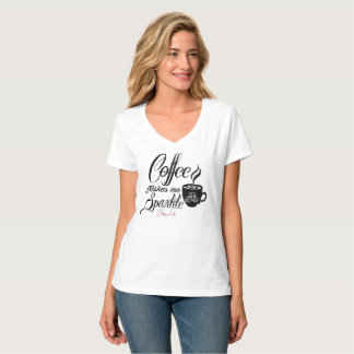 Bling Life Coffee Makes Me Sparkle V-Neck T-Shirt
