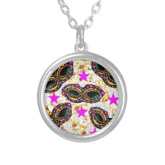 BLING MARDI GRAS SILVER PLATED NECKLACE