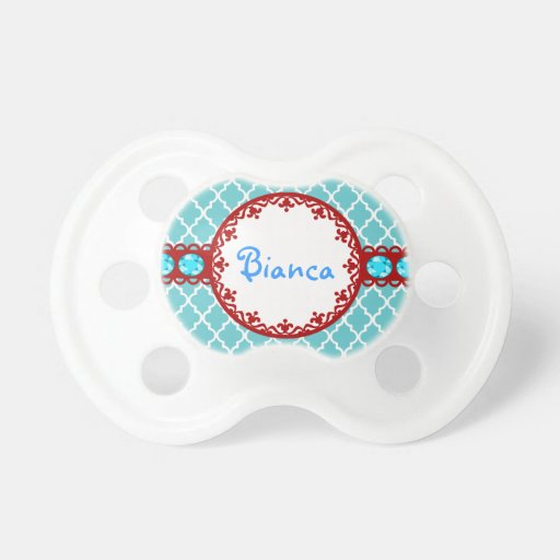 Bling Quatrefoil Pacifier Personalized Baby Gifts