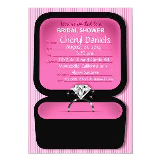 "Bling Ring Box Bridal Shower pink 5"" X 7"" Invitation Card"