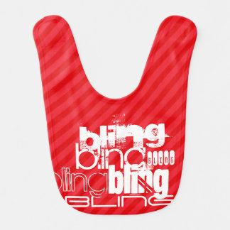 Bling; Scarlet Red Stripes Baby Bib