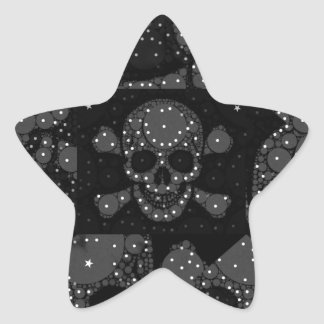 Bling Skull and crossbones Star Sticker