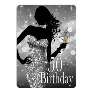 "Bling Sparkle METALLIC ICE 50th Birthday | silver 5"" X 7"" Invitation Card"
