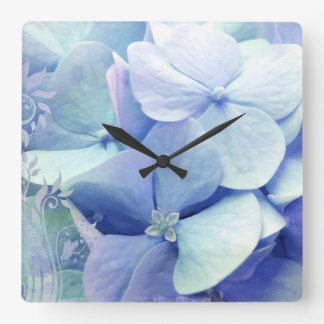 Bliss hydrangea wall clock  blue aqua periwinkle