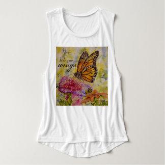 Bliss Monarch Butterfly Watercolor Art Flowy Tank